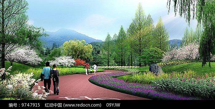 某公园景观区分区效果图图片