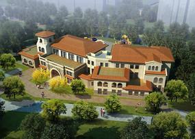 幼儿园建筑鸟瞰图