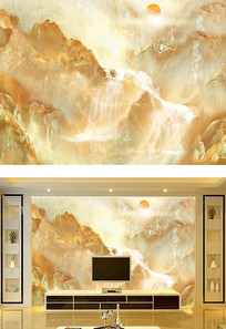 山水石纹背景墙