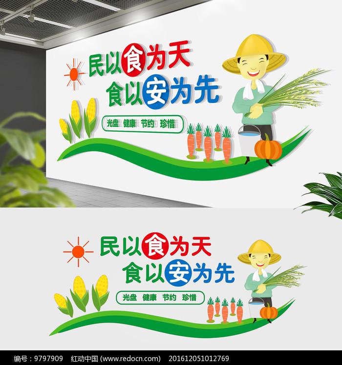 学校企业节约粮食餐厅文化墙图片