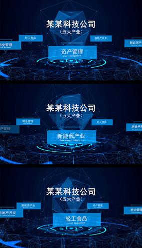 科技点线企业组织功能架构展示AE视频