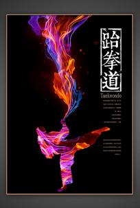 跆拳道绚丽主题海报