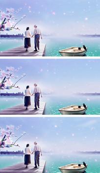 重阳节幸福老人背影清新视频