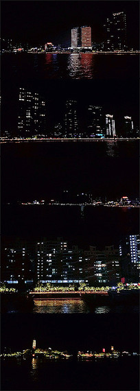 城市滨江楼房大厦灯光夜景