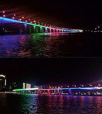 大桥夜景彩色灯光亮化