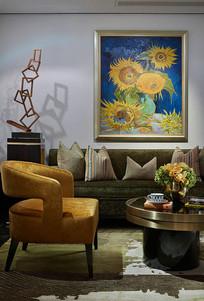 东方新奢雅风格的客厅 JPG