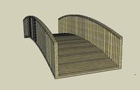 简约木拱桥模型 skp