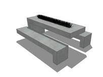 简约石制桌椅组合 skp