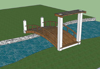 景观河道桥梁 skp