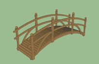 景观木质拱桥 skp