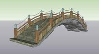 景观石拱桥 skp