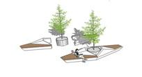 现代组合树池座椅设计