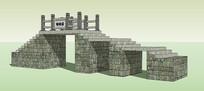 中式石桥梁 skp