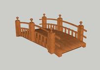 中式园林木拱桥 skp