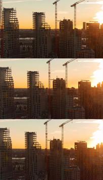 城市建筑塔吊实拍视频素材
