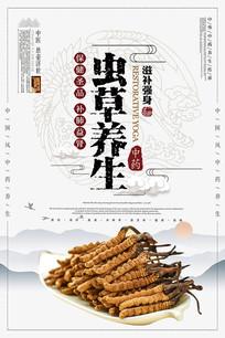 大气创意虫草养生海报设计