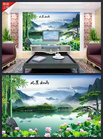 风景如画新中式风水画背景墙