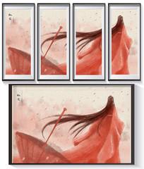 古风手绘女子四框装饰画