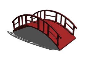 红色中式拱桥