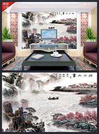 江山如画古典江南水墨背景墙
