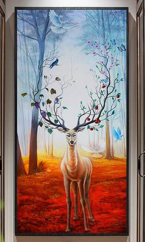 巨幅森林麋鹿玄关装饰油画