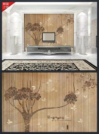 木纹爱巢现代花纹背景墙