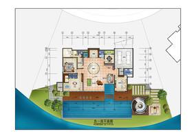 现代风别墅室内负一层彩平