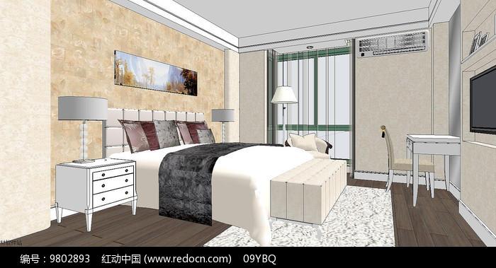 现代卧室场景模型图片