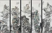 新中式仿古画山水风景电视墙