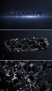 3d文字碎块翻转AE片头模板