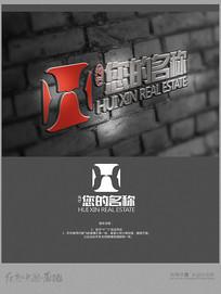X字母H字母变形logo设计