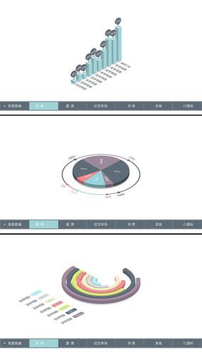 多个三维数据统计图表模板