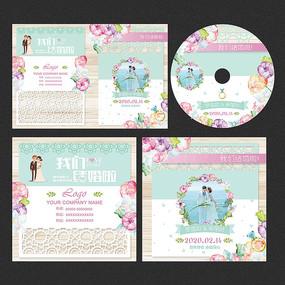 粉蓝镂空婚礼婚庆光盘封面设计 PSD