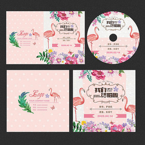 火烈鸟婚礼婚庆光盘封面设计 PSD