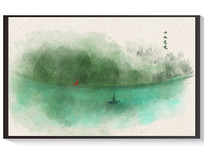 简约手绘水墨山水装饰画