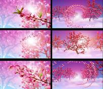 唯美花瓣飘逸桃花林视频素材