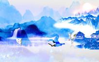 高端蓝色中式画背景墙
