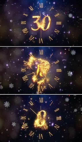 金色粒子新年倒计时视频模板