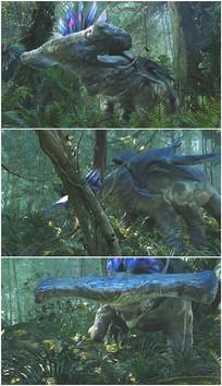 外星大象生气用头撞树视频