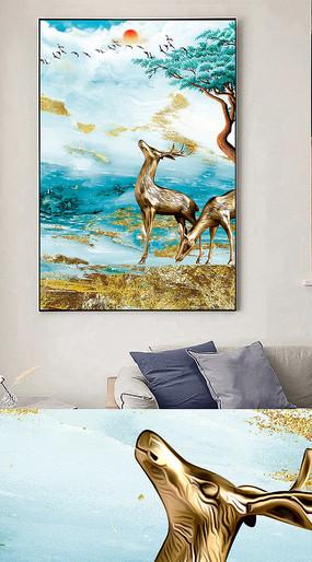 新中式抽象麋鹿金箔装饰画