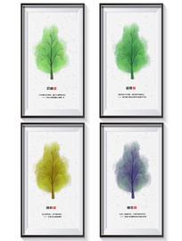 春夏秋冬树的变化4框装饰画