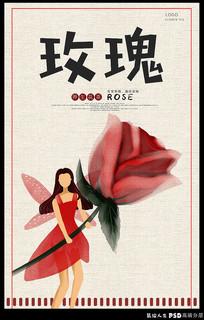手绘养生花茶之玫瑰海报