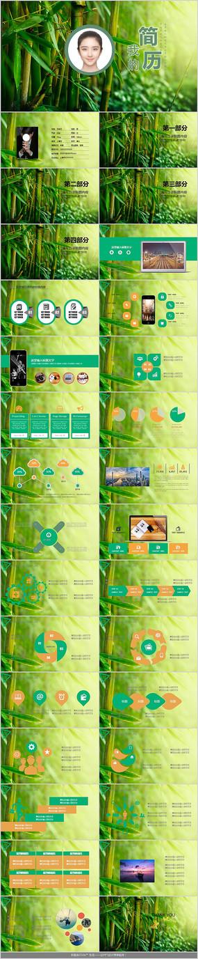绿色清新我的简历PPT模板