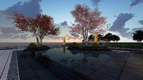 新亚洲住宅水景效果图