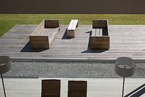 阳光庭院木质座椅 JPG