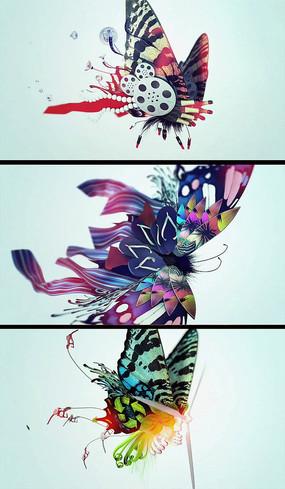 元素拼接蝴蝶创意视频素材