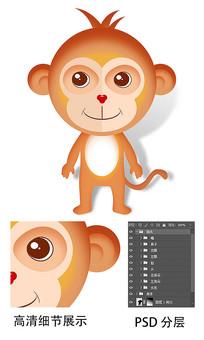手绘鼠绘插画可爱卡通动漫猴子