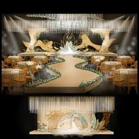 香槟色系婚礼背景板