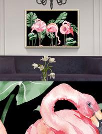 新中式晶瓷画火烈鸟装饰画