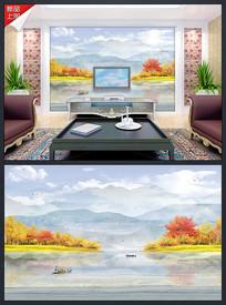 意境新中式大理石纹山水背景墙